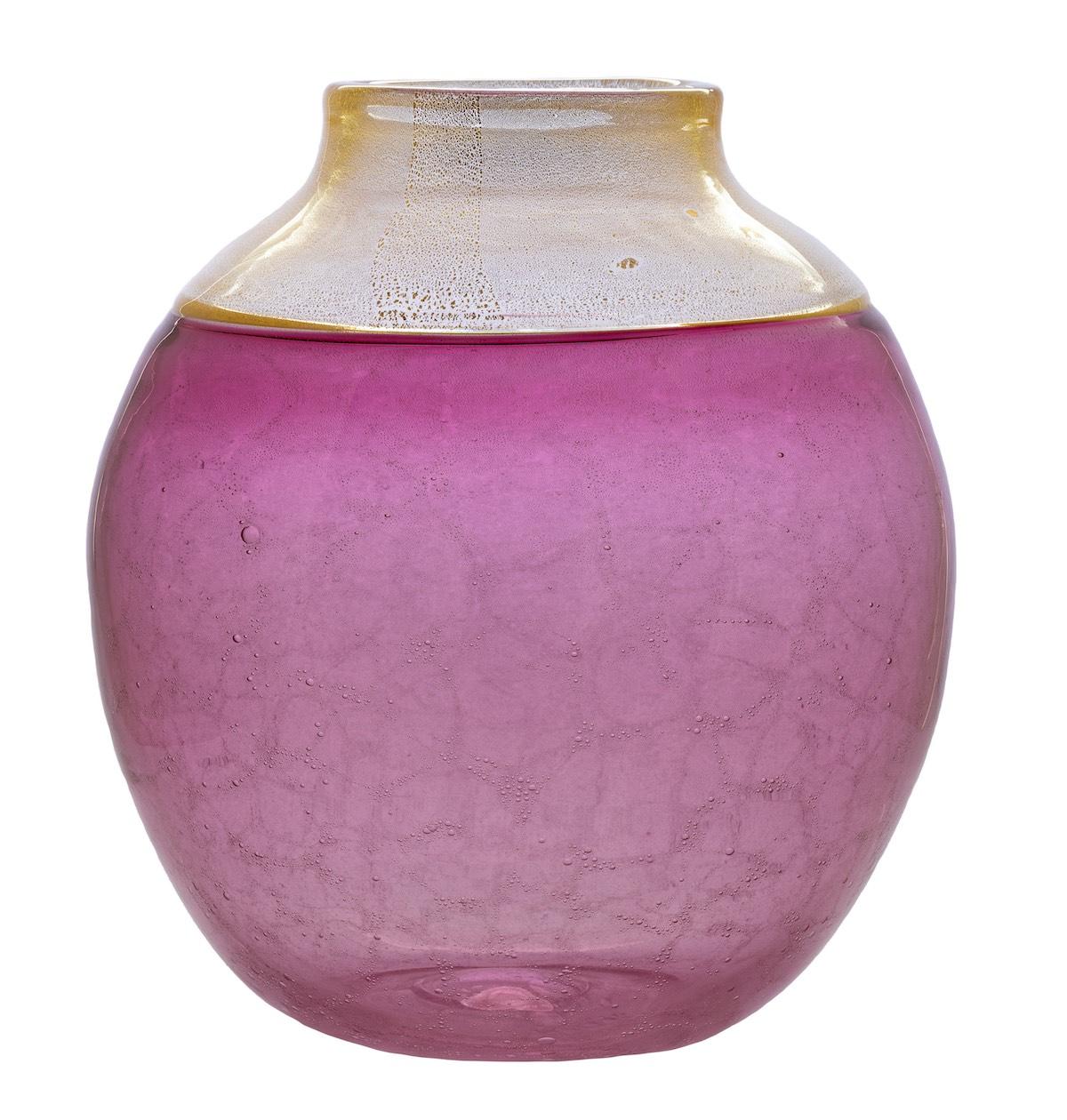 AVZ-1426 coralla vase gold pink murano ruby