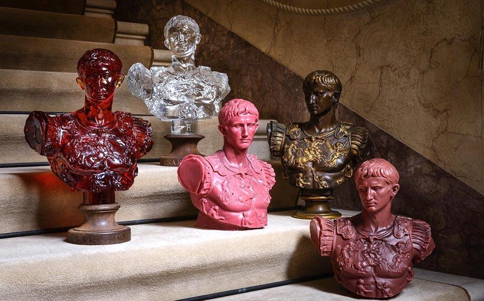 Augustust Bust Glass Sculpture Giberto