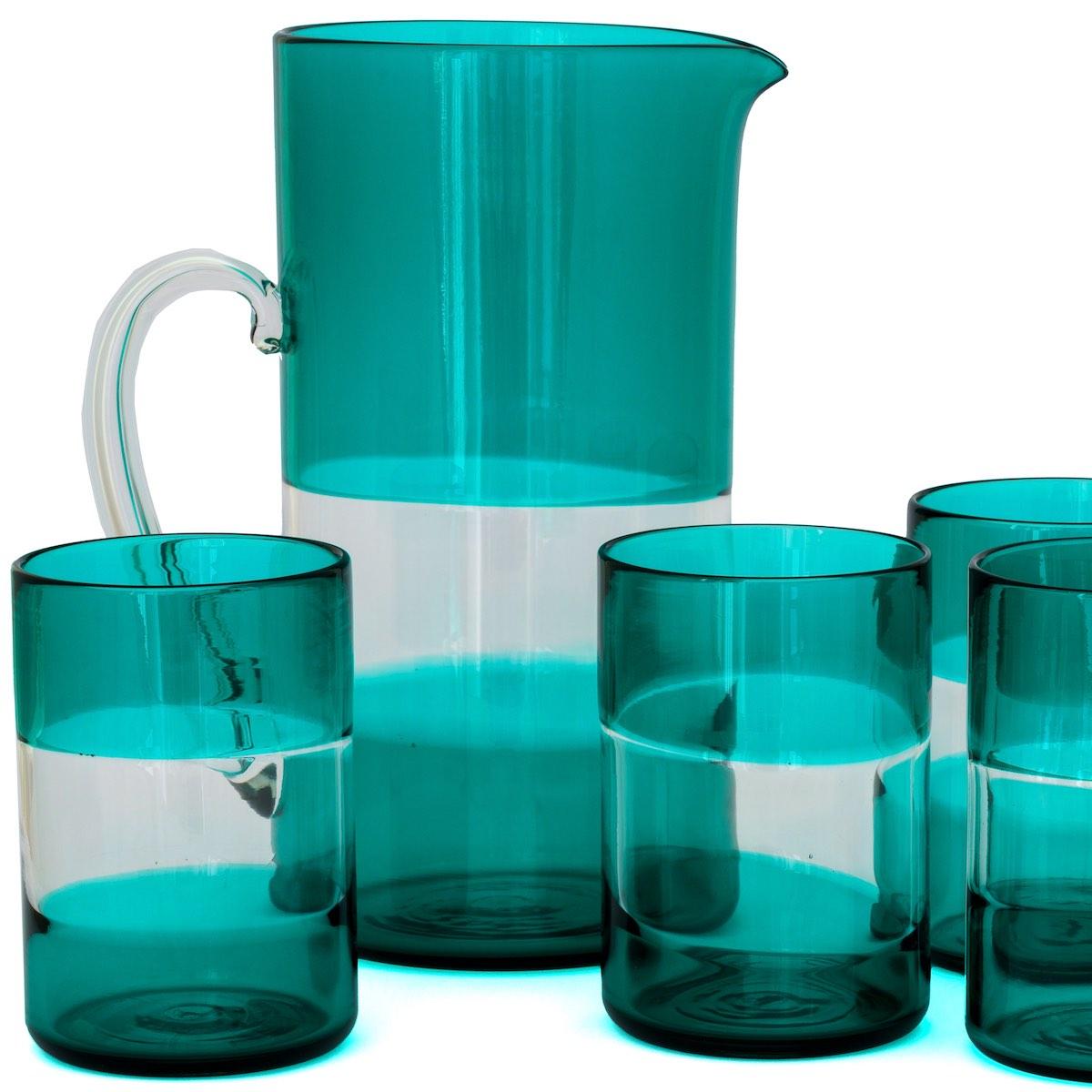 gondola green jug glass stripes lines murano glasses