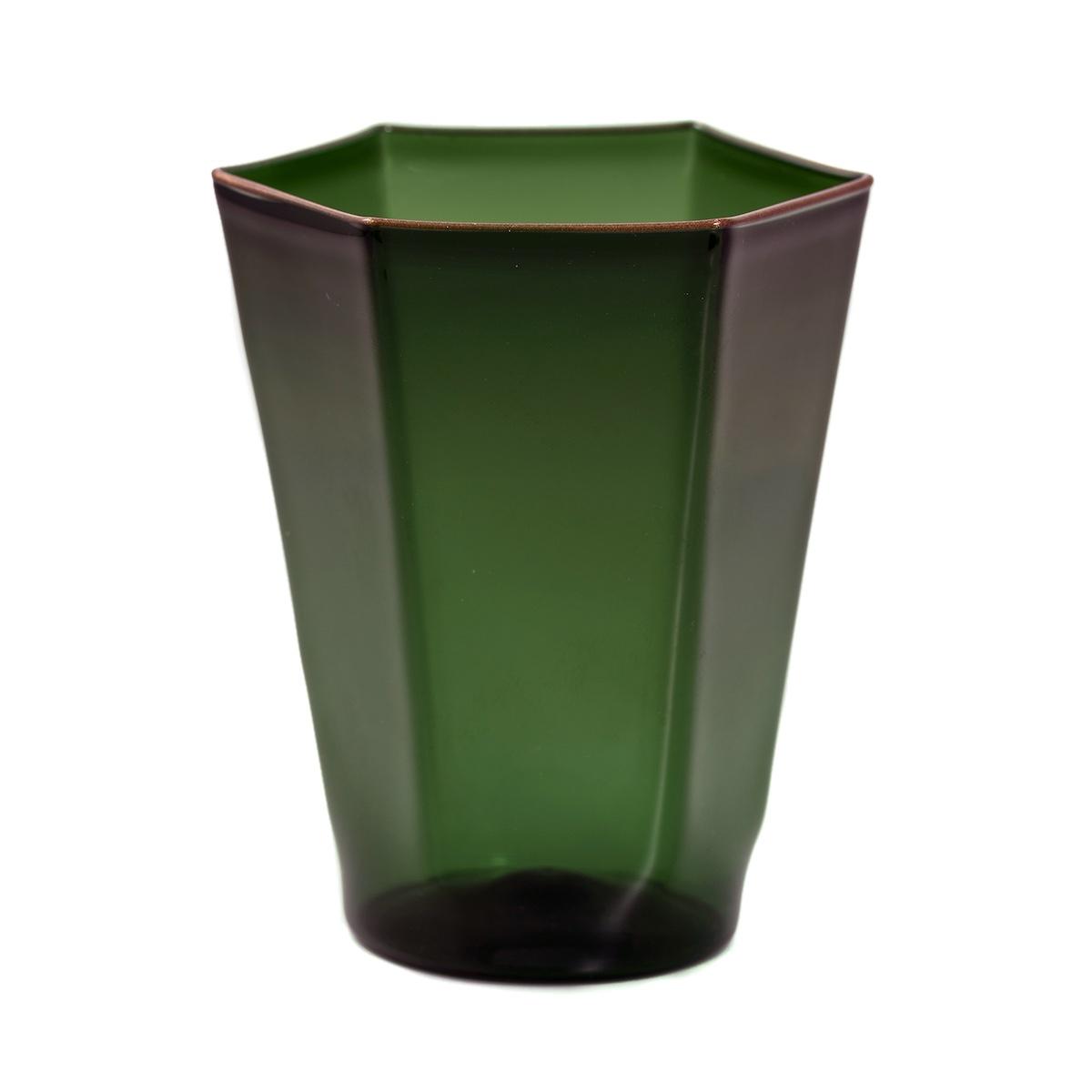 green luxury glass with bronze rim