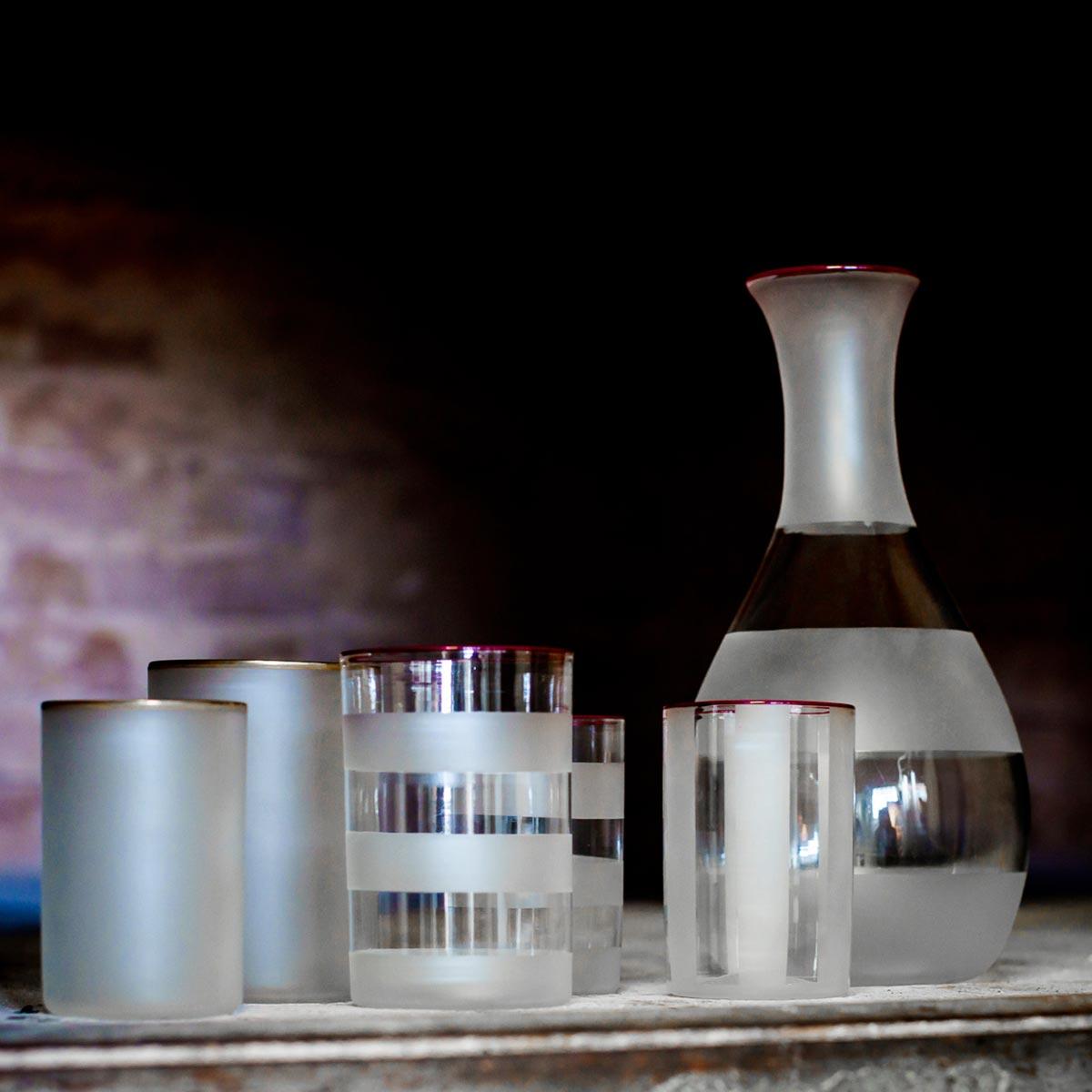 strica jug murano glass giberto design stripped ruby rim water drink luxury modern