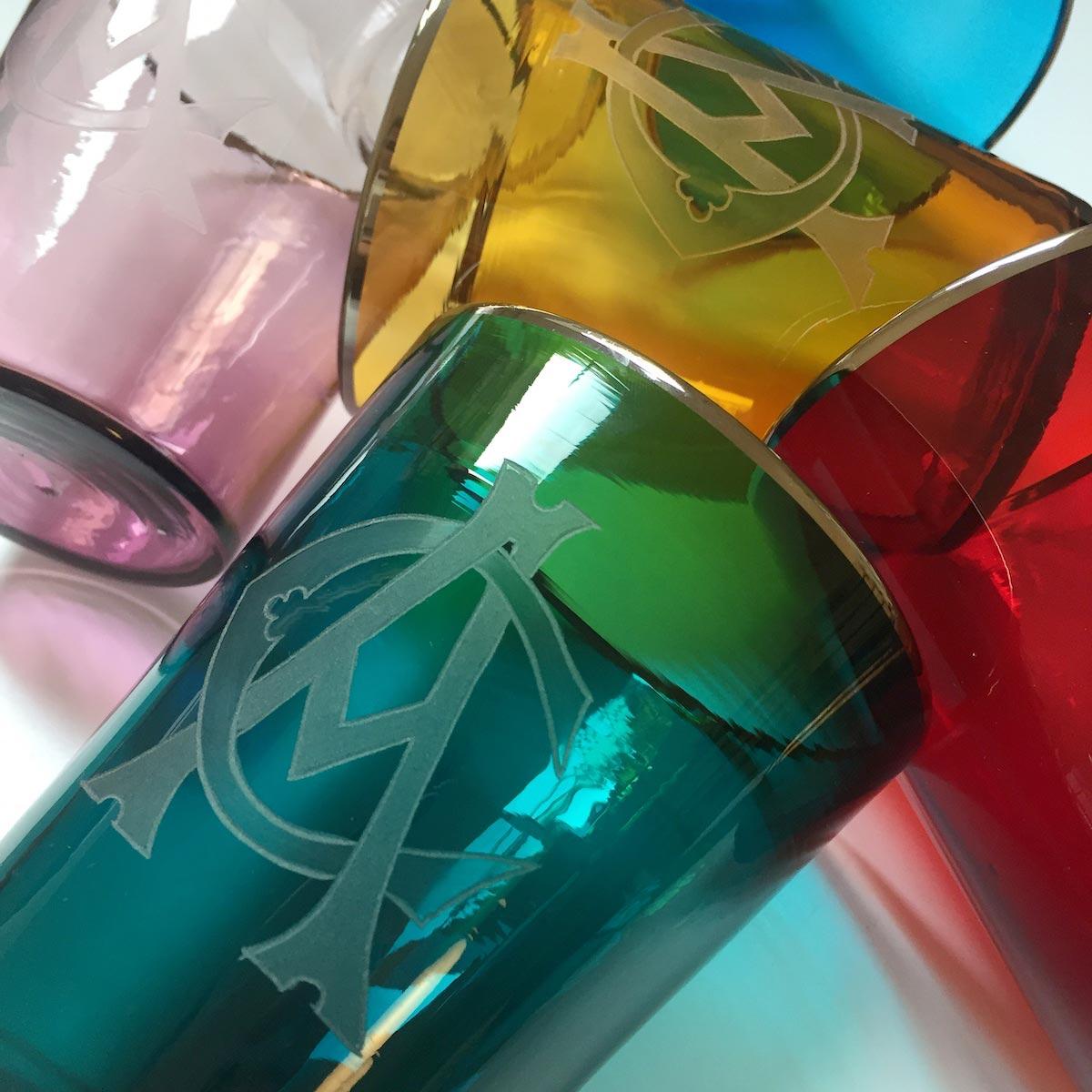 vaso-engraved-colorful-glasses-designer-monogram-initials-handmade-venice-italian