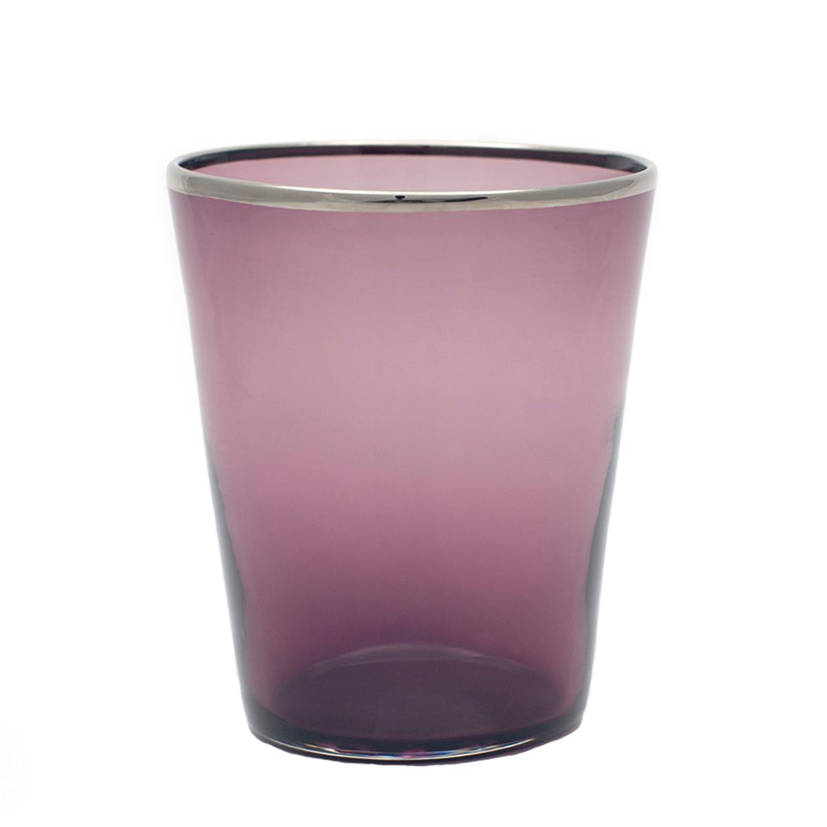 vaso_glass_water_murano_platinum_rim_design_giberto_handmade_luxury
