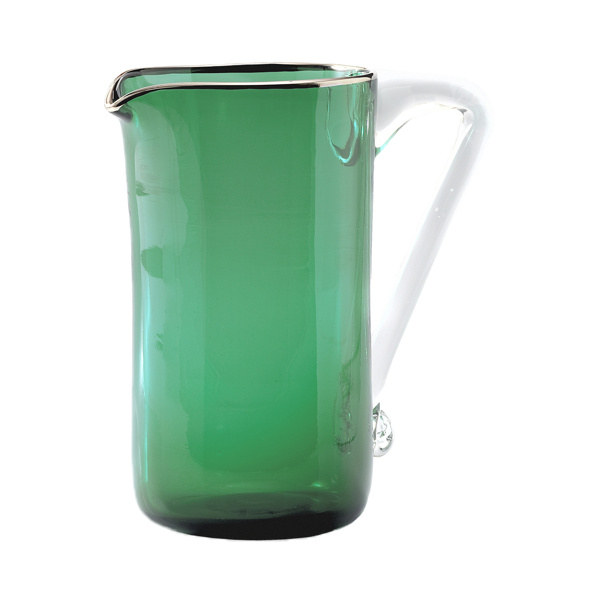 viola_jug_murano_glass_design_giberto_luxury_water_wine_drink_green_triangle_handle
